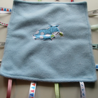 Blue Horse Applique Taggie Toy - Comfort Blanket