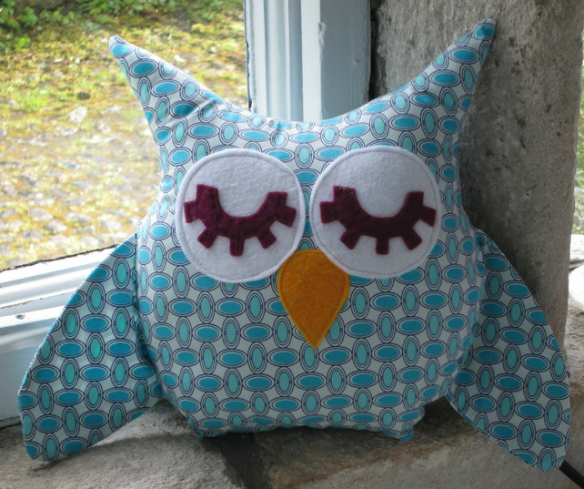Blue Owl  Soft Toy Mini Cushion