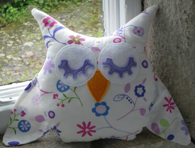 Flowery Owl  Soft Toy Mini Cushion