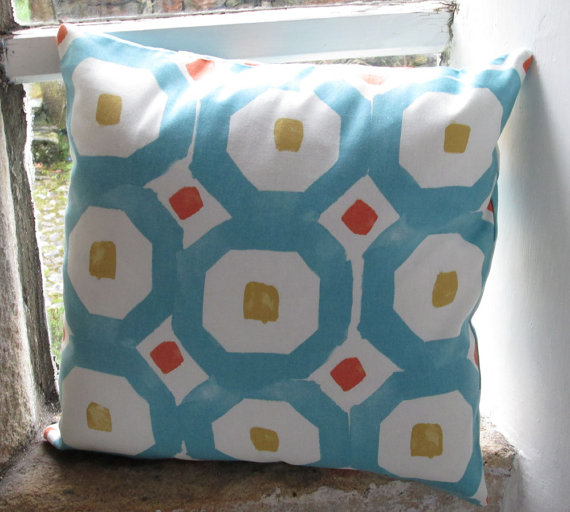 Teal Retro Geometric Cushion Cover 40cm (16 inch)
