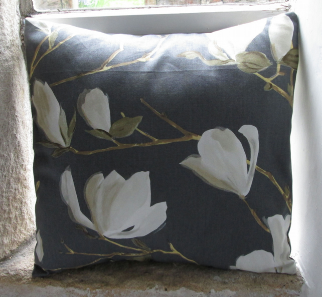 "Dark Grey Magnolia Cushion Cover  40cm (16"") (2)"
