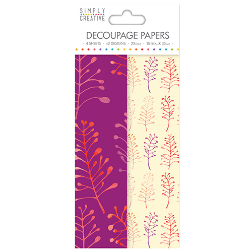 Bold Foliage Design Decoupage Paper - Pack of 4 sheets - 2 of each design