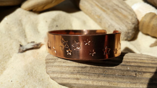 Handmade Copper stars Cuff Bangle