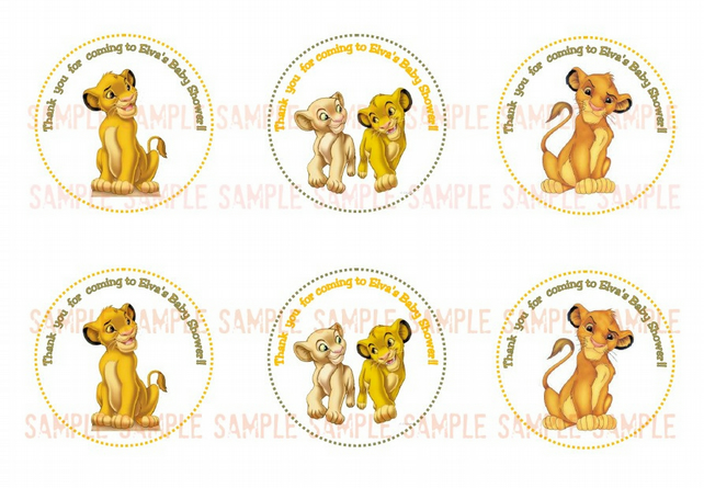 Simba Baby Shower Printable Tags  Personalized Tags Simba Theme  Cupcake  Toppers