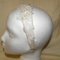Ivory Bridal Lace and Pearl Wide Headband