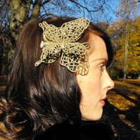 Papillon- A Glitter encrusted butterfly fascinator clip