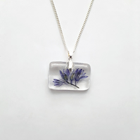 Real Bluebell Pendant, Blue Petal Necklace, Rectangle Resin Terrarium Wildflower