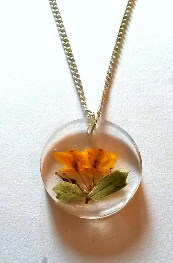 Orange Flowers in Clear Resin Necklace, Darwins Barberry Pendant Round Natural