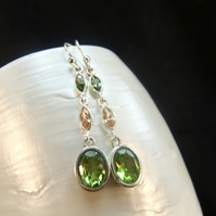 Green Peridot Oval & Champagne Citrine Marquise Sterling Silver Drop Earrings