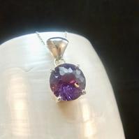 Alexandrite Round Purple to Pink Sterling Silver Necklace