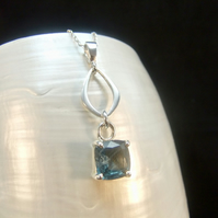 Rare Teal Kyanite Gemstone Sterling Silver Necklace Pendant