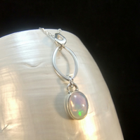 Natural Ethiopian Opal Gemstone Sterling Silver Necklace Pendant