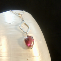 Ruby Inverted Pear Drop Gemstone Sterling Silver Necklace