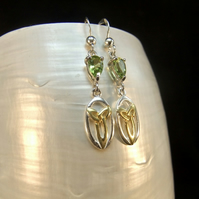 Green Peridot Pear Drop Gemstone with Gold Accents Sterling Silver Earrings