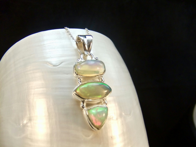 Natural AAA Ethiopian Opal Sterling Silver Necklace Pendant