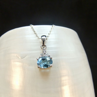 Blue Topaz & Cubic Zirconia Gemstone Sterling Silver Necklace