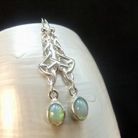 Natural Ethiopian Opal Oval Gemstone Celtic Design Sterling Silver Earrings