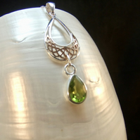Green Peridot Rose Gold Accents Sterling Silver Necklace Pendant