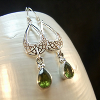 Green Peridot Rose Gold Accents Silver Sterling Silver Drop Earrings