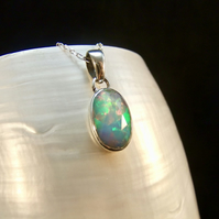 Faceted Ethiopian Opal Gemstone Sterling Silver Pendant Necklace