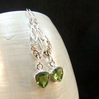 Green Peridot Celtic Design & Rose Gold Accents Sterling Silver Drop Earrings