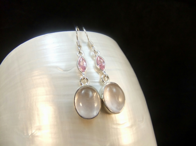 Rose Quartz & Pink Sapphire  Gemstone Sterling Silver Drop Earrings