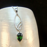 Emerald Sterling Silver Pendant, Handmade Gemstone Necklace