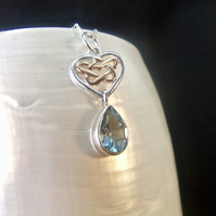 Blue Topaz with Rose Gold Accents Gemstone Sterling Silver Necklace