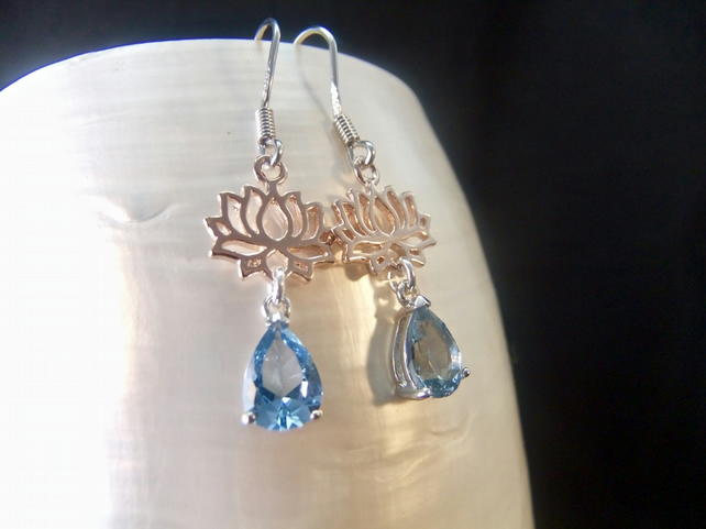 Blue Topaz Gemstone with Rose Gold Accents Sterling Silver Earrings