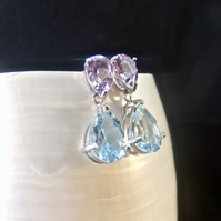 Blue Topaz & Amethyst Gemstone Sterling Silver Stud Drop Earrings
