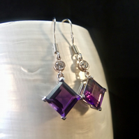 Amethyst & Cubic Zirconia Gemstone With Rose Gold Accents Sterling Silver Earrin