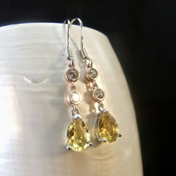 Citrine & Cubic Zirconia Gemstones with Rose Gold Accents Sterling Silver Earrin