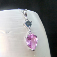 Natural London Blue Topaz & Pink Sapphire Sterling Silver Necklace