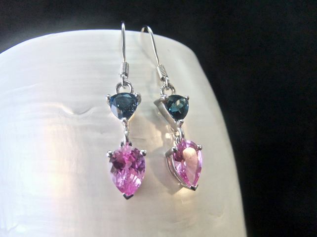 Natural London Blue Topaz & Pink Sapphire Gemstone Sterling Silver Earrings