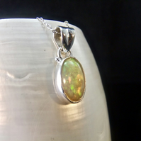 Earth Mined Ethiopian Opal Gemstone Sterling Silver Pendant Necklace