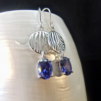 Tanzanite Oval Gemstone Sterling Silver Earrings