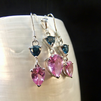 Matching Jewellery Set London Blue Topaz and Pink Sapphire Gemstone
