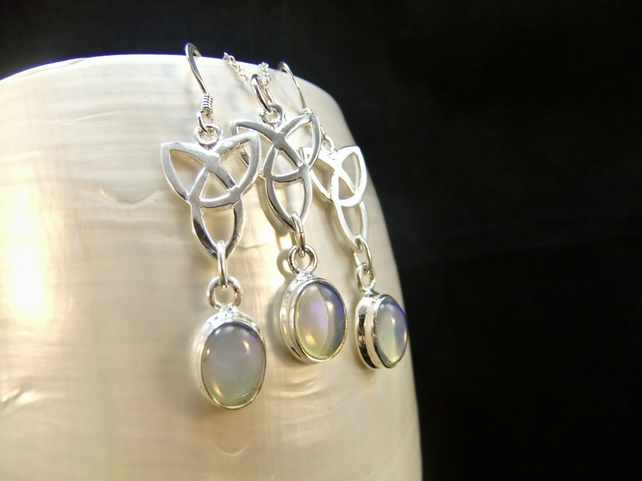 Matching Jewellery Set Ethiopian Opal Celtic Design Sterling Silver