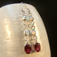 Ruby & Opal Gemstone Sterling Silver Earrings