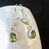 Peridot Celtic Hearts with Gold Accents Sterling Silver Earrings