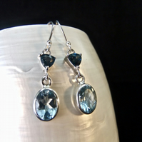 London Blue & Swiss Blue Topaz Gemstone Sterling Silver Earrings