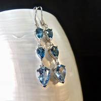 Sterling Silver London Blue & Sky Blue Topaz Gemstone Earrings