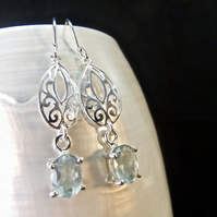 Natural Faceted Aquamarine Gemstone Sterling Silver Drop Earrings