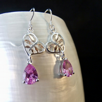 Pink Sapphire Heart Gemstone Sterling Silver Drop Earrings