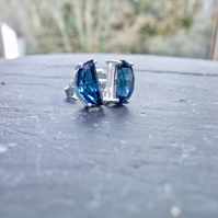 London Blue Topaz Gemstone Sterling Silver Stud Earrings