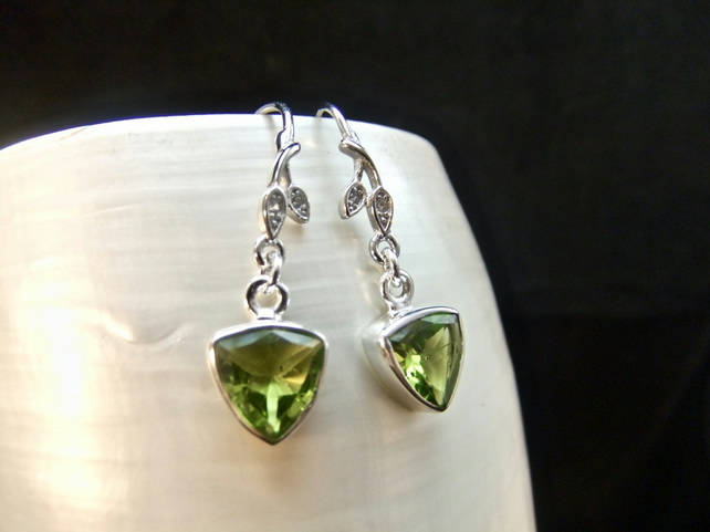 Green Peridot & Cubic Zirconia Sterling Silver Earrings