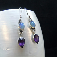 Ethiopian Opal & Amethyst Gemstone Sterling Silver Drop Earrings