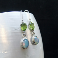 Ethiopian Opal & Green Peridot Gemstone Sterling Silver Earrings