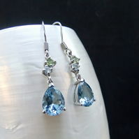 Natural Peridot & London Blue Topaz Gemstone Sterling Silver Earrings