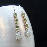 AAA Quality Ethiopian Opal & Peridot Sterling Silver Earrings, Rose Gold